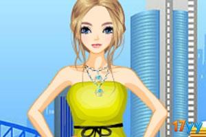 黄绿色连衣裙