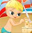 搭建沙滩堡的小孩