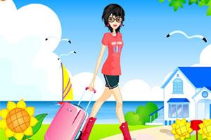 沙滩旅游女孩