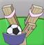 淘气男孩的弹弓足球