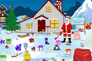 圣诞老人整理屋外