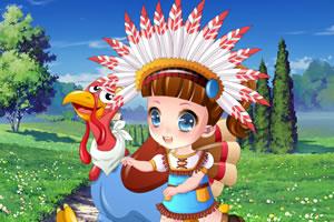 女孩和她的宠物鸡