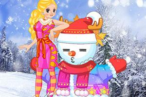 可爱小女孩和雪人
