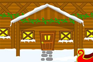 逃离白色雪地村庄
